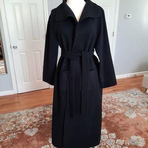Elieen Fisher long black wool cashmere blend coat